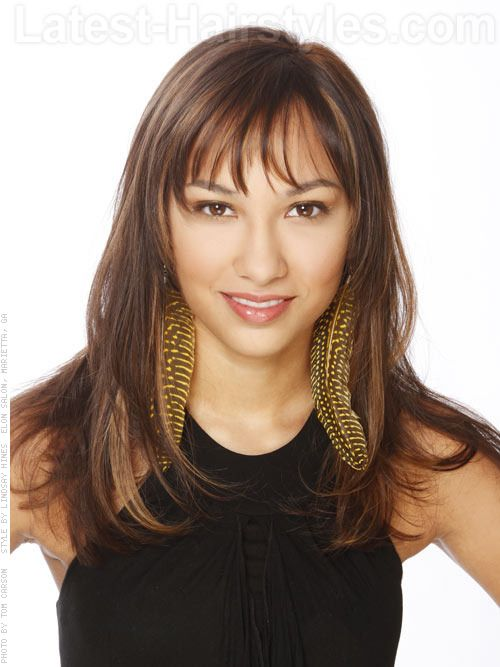 layered haircut with bangs layered highlights and bangs my style 4047
