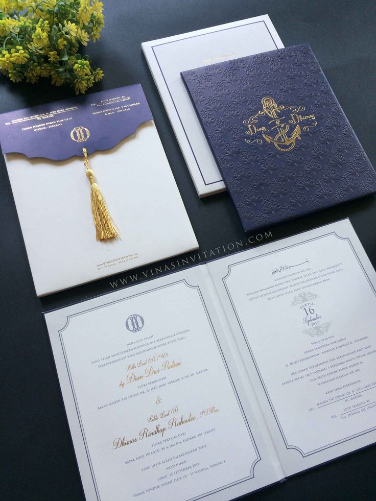vinas invitation. indonesian wedding. simple invitation. wedding custom. custom invitation. eclassic emboss. navy theme.. any question pls visit website www.vinasinvitation.com . courtesy of Dian & Dhimas