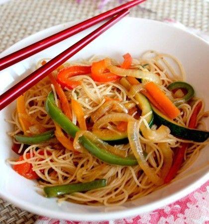 Veggie Pasta - #receta de Fideos con Verduras