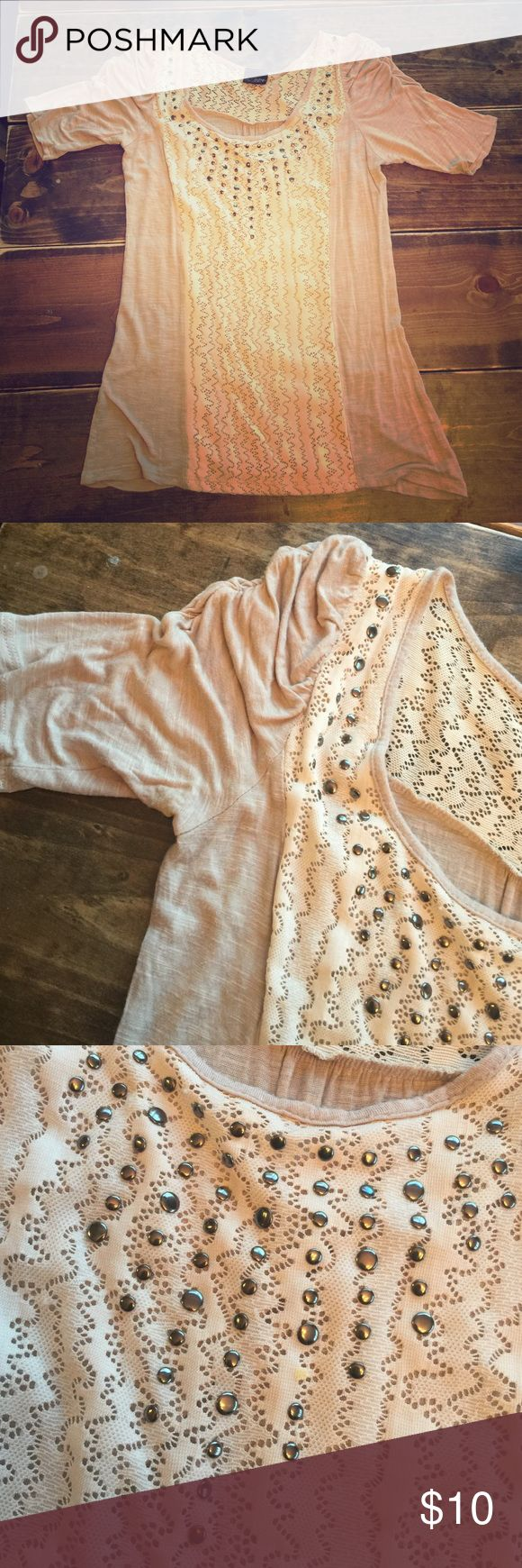 Medium Daytrip top. Cream women's top with lace and stud details. Daytrip Tops Blouses