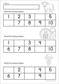 MEGA Math & Literacy Worksheets & Activities - Down on the Farm. 100 Pages in total!! A page from the unit: Write the missing numbers.