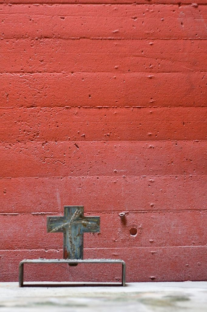 altar to side chapel Sainte Marie de La Tourette, Éveux-sur-Arbresle, France. [Architect: Le Corbusier and Iannis Xenakis]