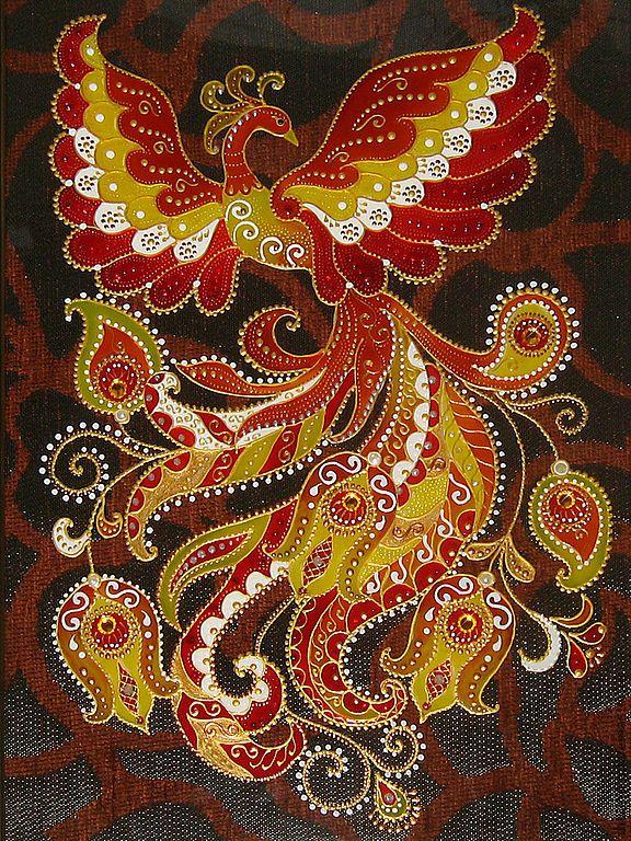 Купить Витражная картина Жар-птица - Витражная роспись, витражное панно, витражная картина