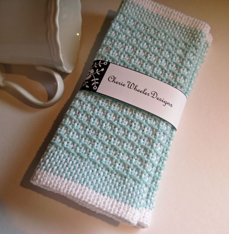 Cotton Dish Coth in White and Aqua woven on Schacht Rigid Heddle Loom