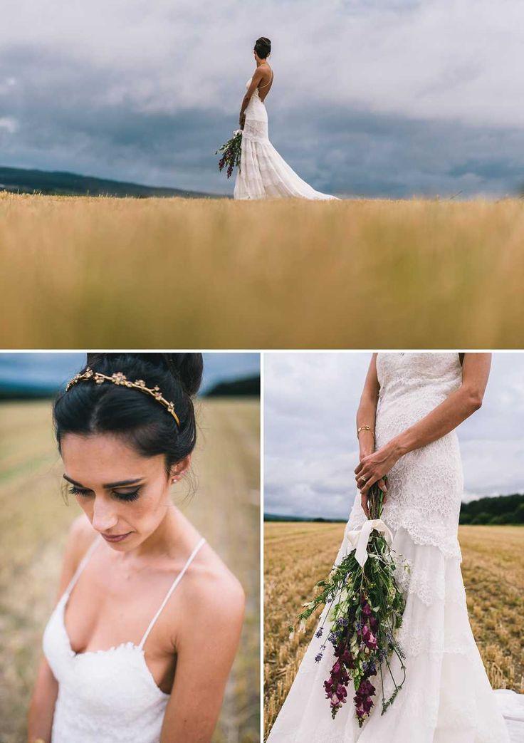 Cymbeline Wedding Dress at Healey Barn in Northumberland.