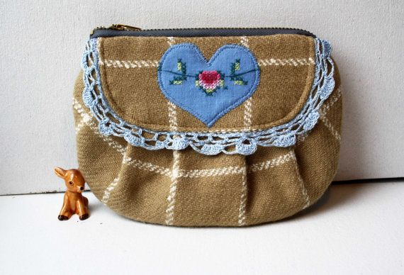 Heidi vintage fabric mocha wool purse by ObeliaDesign on Etsy, $47.00 obelia bohemian handmade