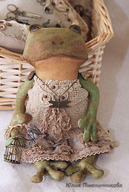 Лягушка-мечтательница - лягушка,ароматизиронные игрушки,лен,хлопок,акриловые краски