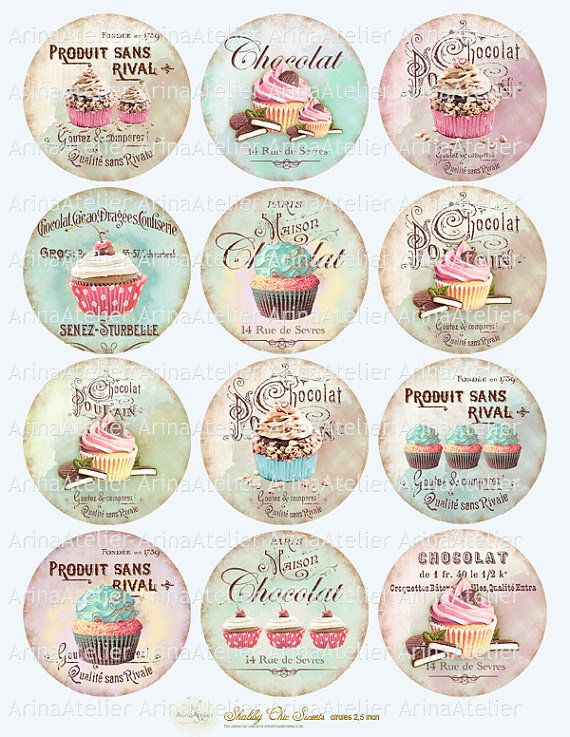 Shabby chic Sweets Circles Micro slides 25 by arinaatelierDigital, $4.90