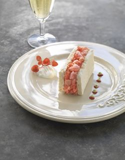 """Recipe - Iced meringue, champagne sorbet and """"biscuit rose"""" powder"""