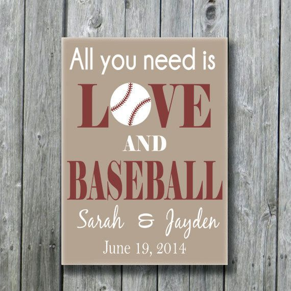 All You Need Is Love and Baseball,Personalized Baseball Wedding Gift,Anniversary Engagement Bridal Shower Gift,Baseball Sports Fan Gift on Etsy, $45.00