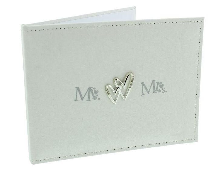 Rå #gæstebog i naturfarvet hør med #sølvhjerter og Mr/Mrs.motiv til #bryllup. 249kr.