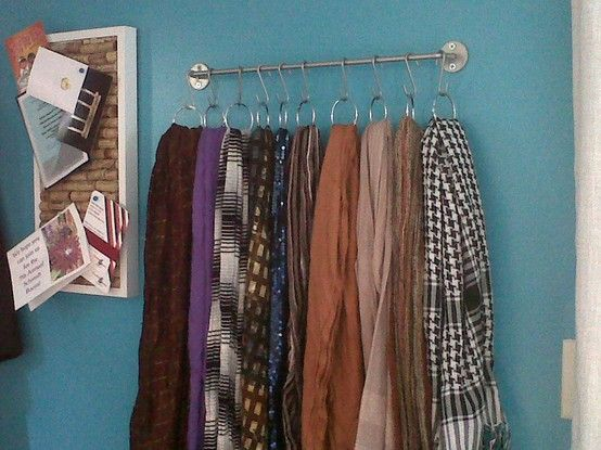 Use a towel bar and shower curtain hooks to organize scarves. So doing this!