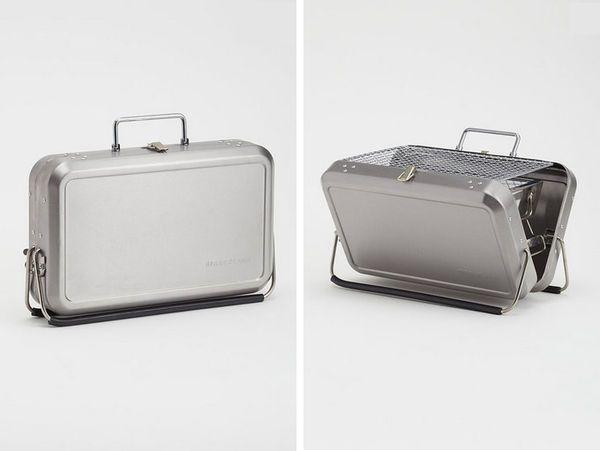 The Kikkerland Portable BBQ Looks Like a Stylish Silver Bag #men #gifts trendhunter.com