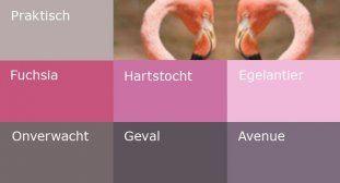 Roze is natuurlijk mooi met paars maar ook met de warme grijzen. Deze kleur geeft ontspanning.