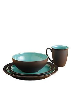 "Duet Brown & Turquoise Place Setting.  I plan on a ""coffee"" themed kitchen. These colors. perfect."