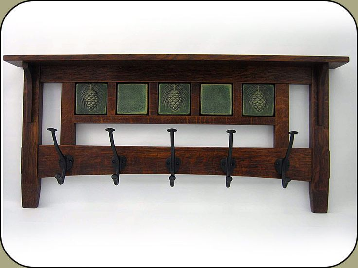 "Craftsman 5 hook Coat Rack w/ five 3"" Tiles. Created by John Shea."