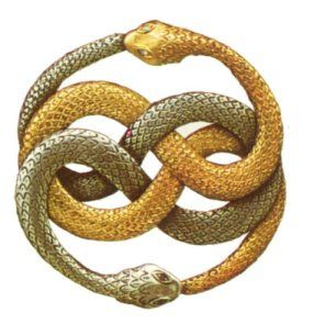 Infinity. Ouroboros. The Auryn. Neverending Story. This symbol appears in many other cultures depicting similar shapes and meanings. In mythology, the Oroborus is a symbol representing the Milky Way galaxy. In Gnosticism and alchemy representing cyclical natural life and the fusion of opposites. It also symbolizes the transcendence of duality. It represents the spirit of Mercury (the substance that permeates all matter)
