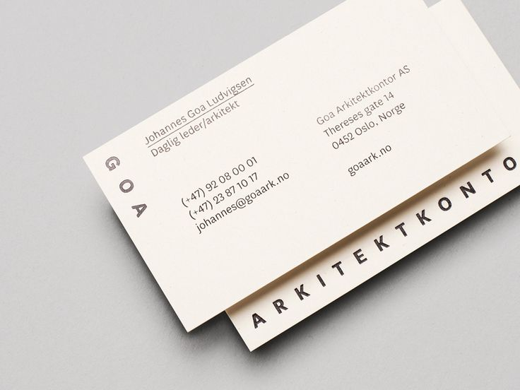 Logo and business card with black foil detail designed by Heydays for Oslo based architecture studio Goa Arkitektkontor