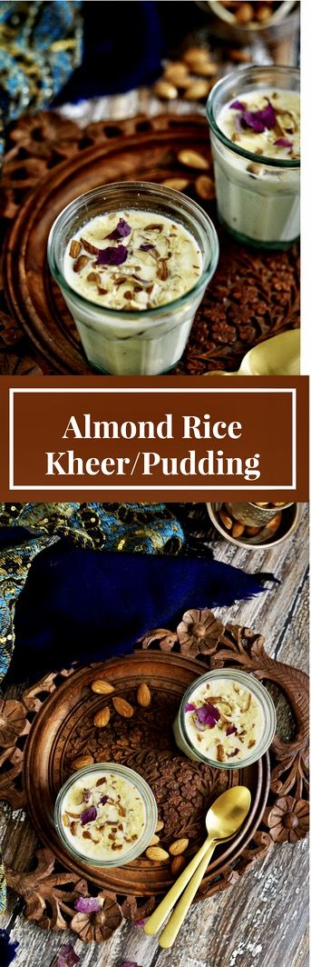 Almond Rice Kheer or Almond Rice Pudding is a delicious Indian recipe served during festivals or any kind of celebrations. Whole milk is simmered and reduced to half and then flavored with almonds, crushed rice, cardamom and sugar. This creamy delicious dessert will refresh your childhood memories. Serve warm or chilled - totally up to you.