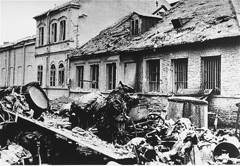 Warsaw Ghetto Uprising Debris litters the street in front of a building destroyed by the SS during the suppression of the Warsaw ghetto uprising.