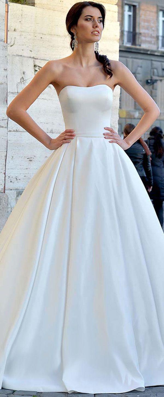 Wonderful Satin Strapless Neckline Natural Waistline A-line Wedding Dress With Belt