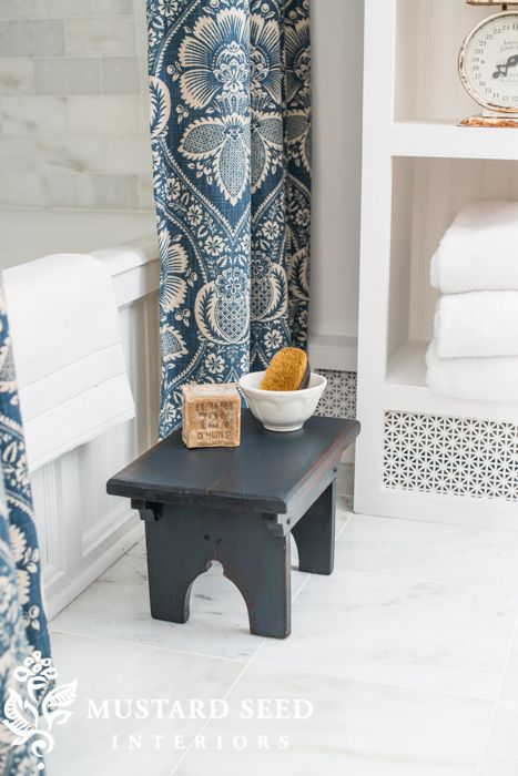 Guest bathroom ideas. Blue and White. Shower curtain. Blue cabinets the color of the stool. Miss Mustard Seed