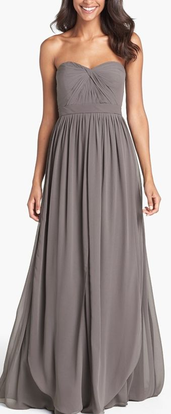 Gorgeous grey chiffon dress by Jenny Yoo perfect for bridesmaids