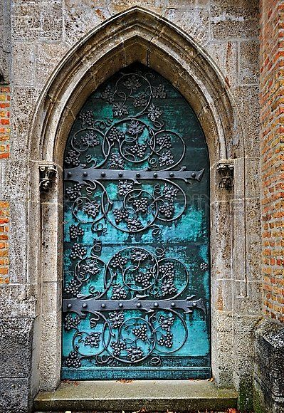 Gothic Door With Iron Mounting At The Neo-Gothic St. Ottilien Archabbey,near Landsberg,Bavaria,Germany,Europe Stock Photos / Pictures / Phot...