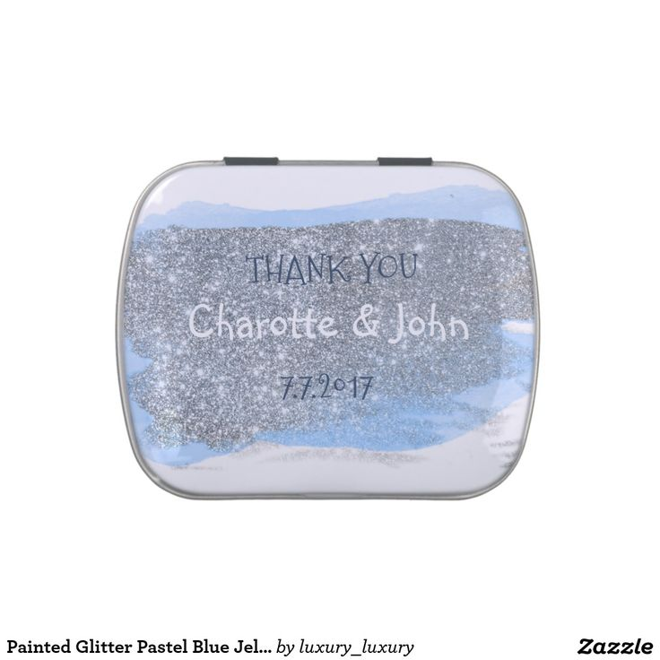Painted Glitter Pastel Blue Jelly Belly™ Candy Candy Tin