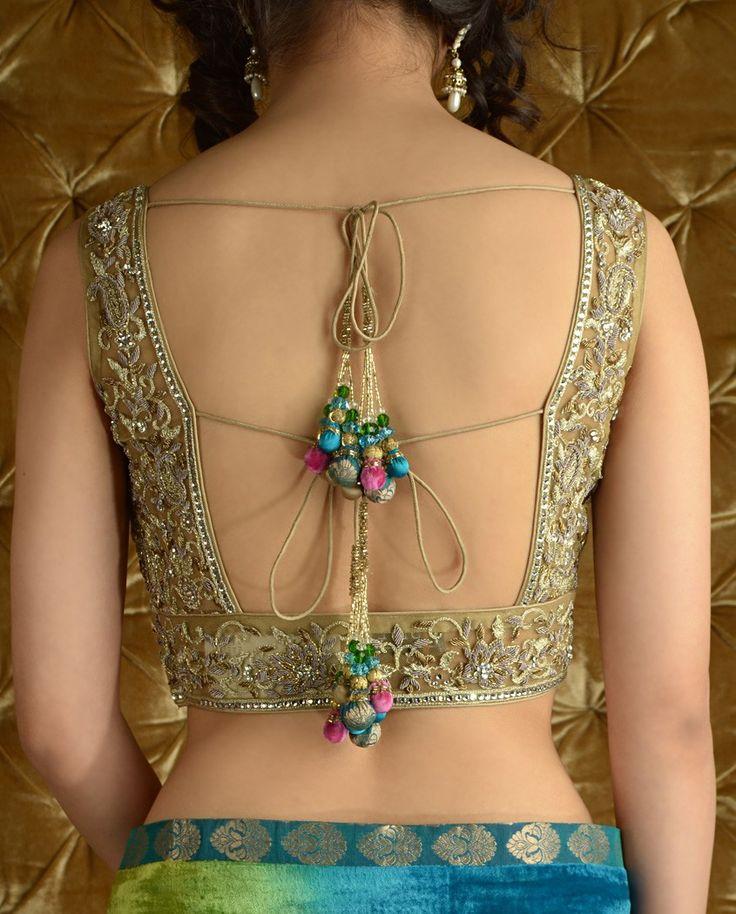 Indian Saree Blouse | Parrot Green and Blue Peacock Sari