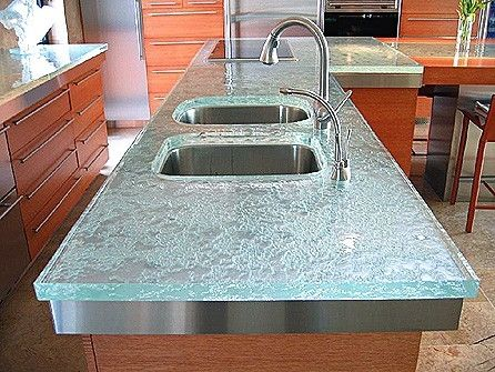 recycled glass counter tops  LOVE!!
