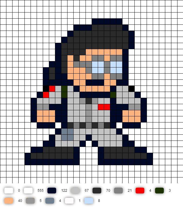 Egon Ghostbusters Perler Bead Pattern