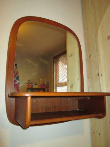 Vintage Retro Danish Teak Wall Mirror Bathroom Unit Cabinet Shelf G P - Teak bathroom wall cabinet