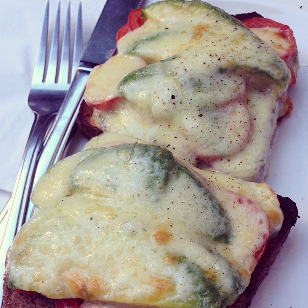 An old fave...cheese, tomato, and avocado melt #yum