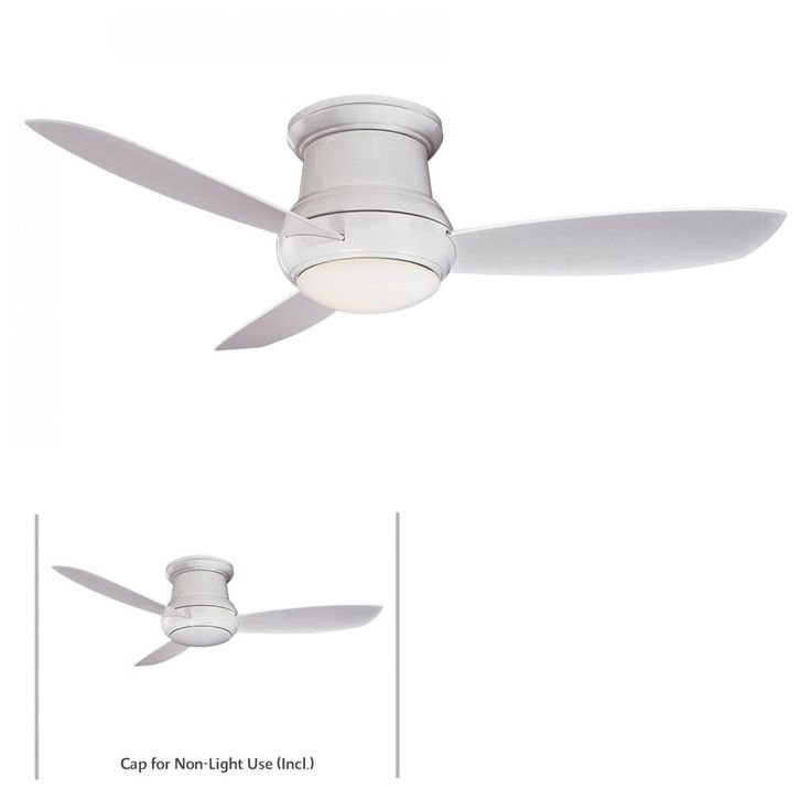 Minkaaire F574 Wh White 3 Blade 52 Flushmount Outdoor Ceiling Fan Light