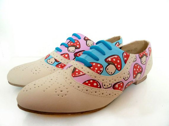 Hand Painted Toad stool Brogues  Sz UK 4 US 65 by PonyChopsShop, £60.00 Too Cute for life!