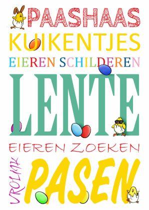 Vrolijke Pasen woordenkaart - happy easter word card with small illustrations. Kaartje2go - Creagaat Pasen Pinkster