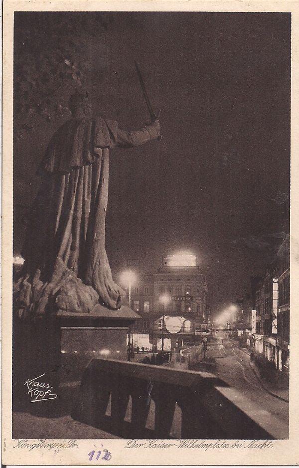 KÖNIGSBERG, Kaiser-Wilhelmplatz bei Nacht, alte AK
