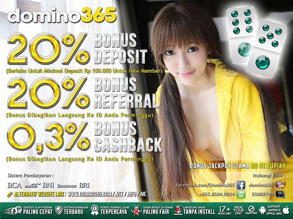 DOMINO365 merupakan Agen Judi Poker Domino QQ CEME Online Indonesia Terbaik dan Terpercaya. Daftarkan ID anda sekarang juga di www.domino365.com.