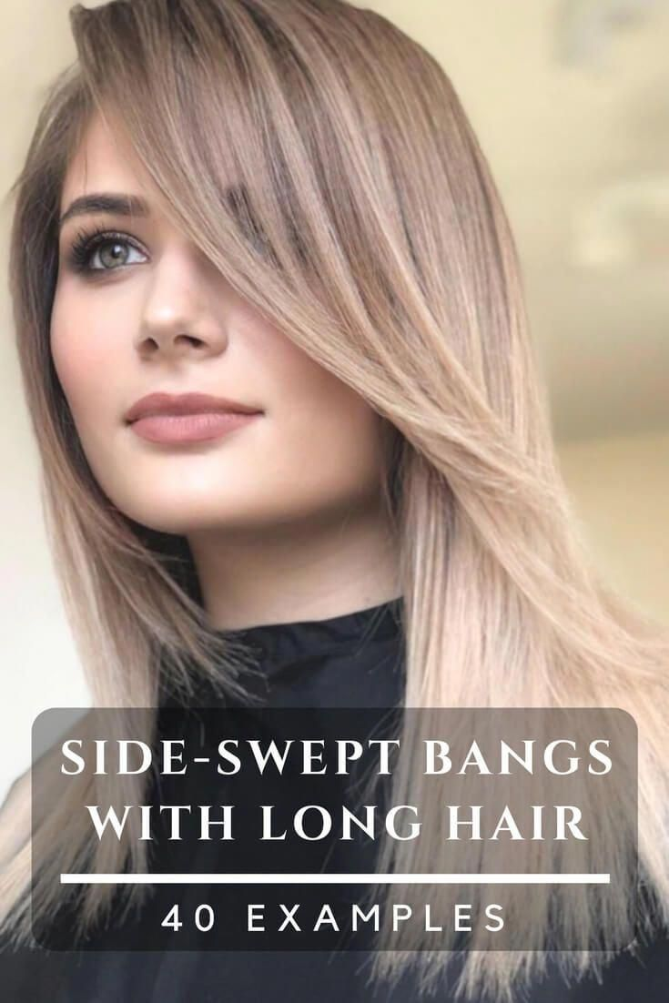 Beautiful hairstyles with side-swept bangs for long hair. Plenty of ideas how to style your already beautiful long hair with fringes or bangs. #hairst