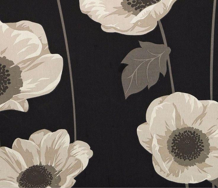 SANDOW & BOURNE ELISSIA POPPY UNLINED PENCIL PLEAT CURTAINS 117 x 137 CM BLACK