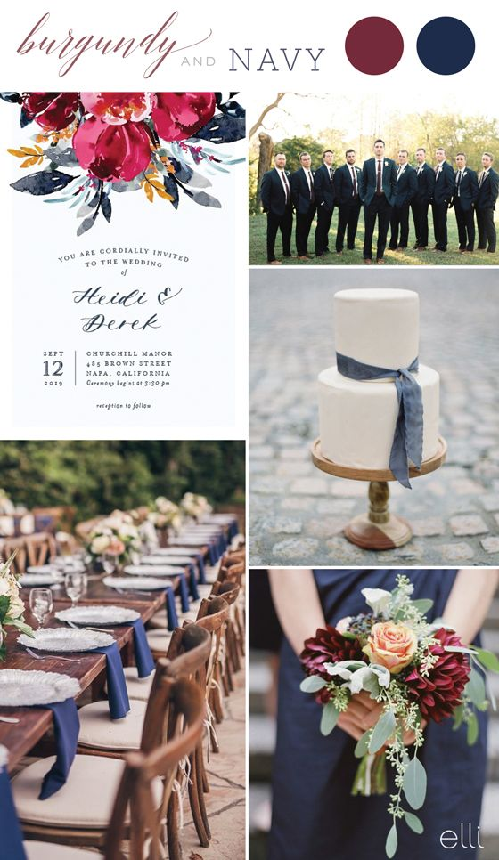 Burgundy and Navy Fall Wedding Colors