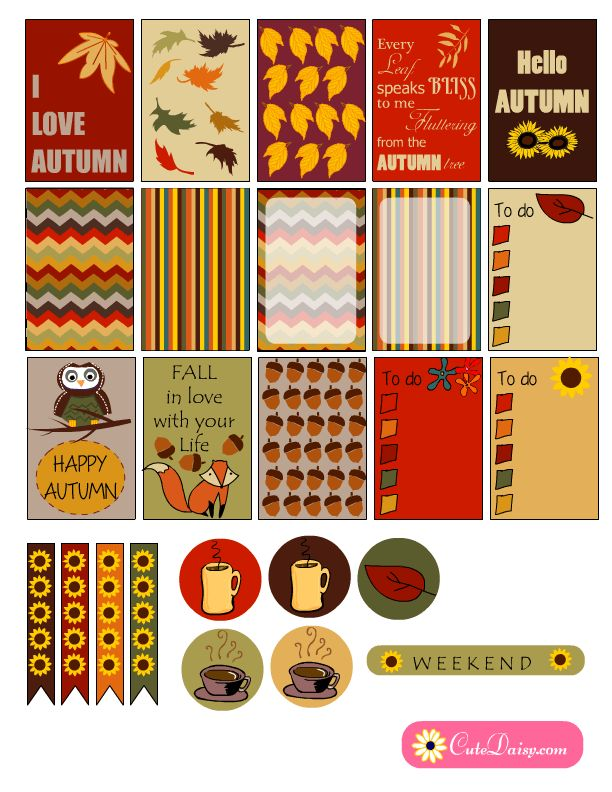Happy With Printables Calendar November : Free printable fall themed happy planner stickers