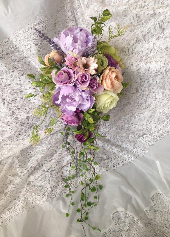 Lavender Wedding Bouquet Cascade Wedding Bouquet Purple Garden Flowers Cheap Wedding Flowers Flower Bouquet Wedding Lavender Wedding Bouquet