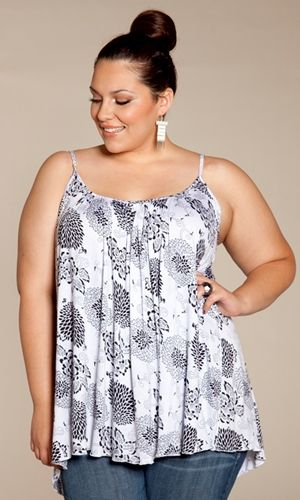 Plus Size Pretty Cami in Trendy Black and White Dandelion Print at www.curvaliciousclothes.com Sizes 1X-6X #plussize #fashion