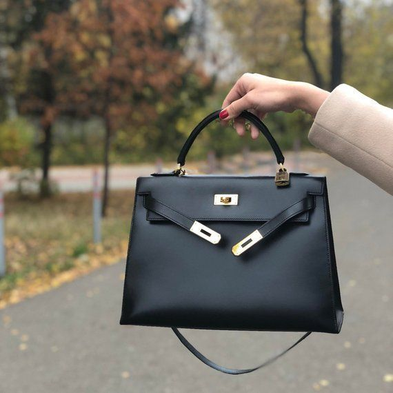 Authentic Vintage Hermes Kelly 32 Box Calf Leather Black Bag