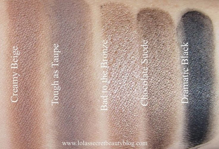Swatches of Maybelline Color Tattoo 24 hr Eyeshadows in Creamy Beige, Tough as Taupe, Bad to the Bronze, Chocolate Suede, and Dramatic Black. Swatches + review via link.