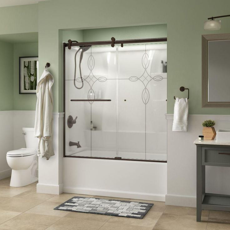 Delta Simplicity 60 in. x 58-3/4 in. Semi-Frameless Contemporary Style Sliding Tub Door in Bronze with Tranquility Glass