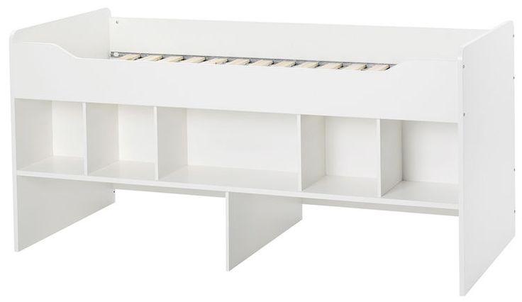 Wysokie łóżko dziecięce COMBEE      Nowoczesne, skandynawskie łóżko o powierzchni pod materac 90x200cm. Wyższe niż standardowe łóżka dla dzieci przez umieszczenie regału/wnęki na pojemniki.