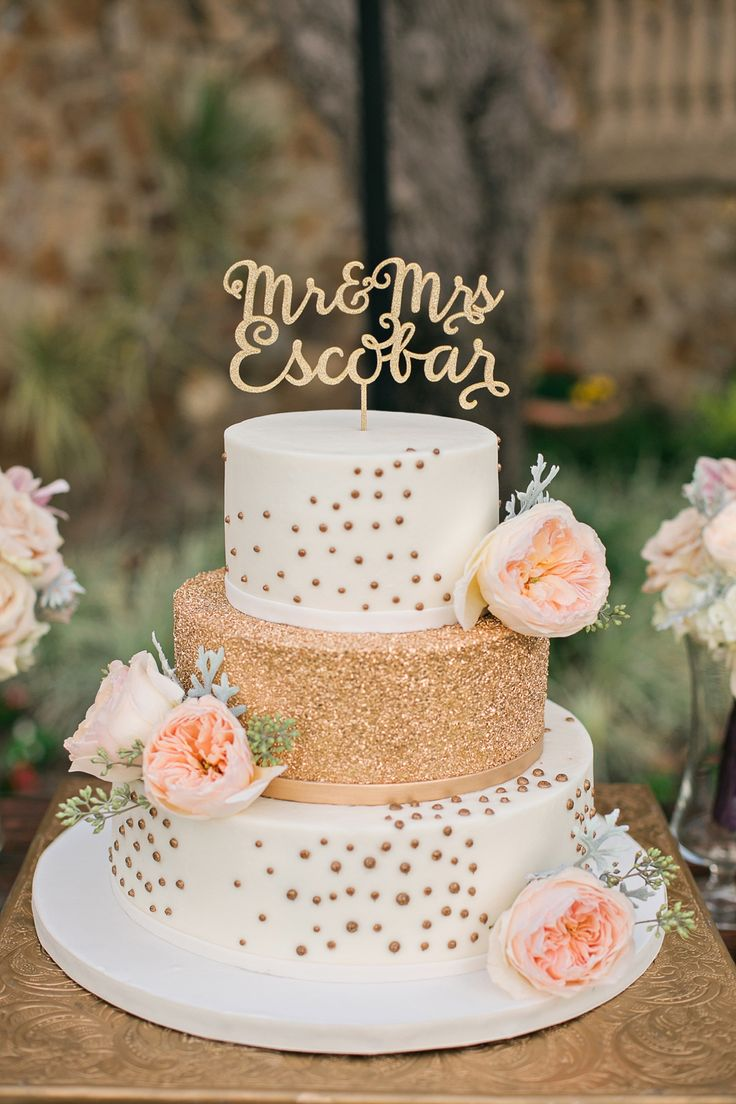 Romantic Peach Gold Garden Wedding